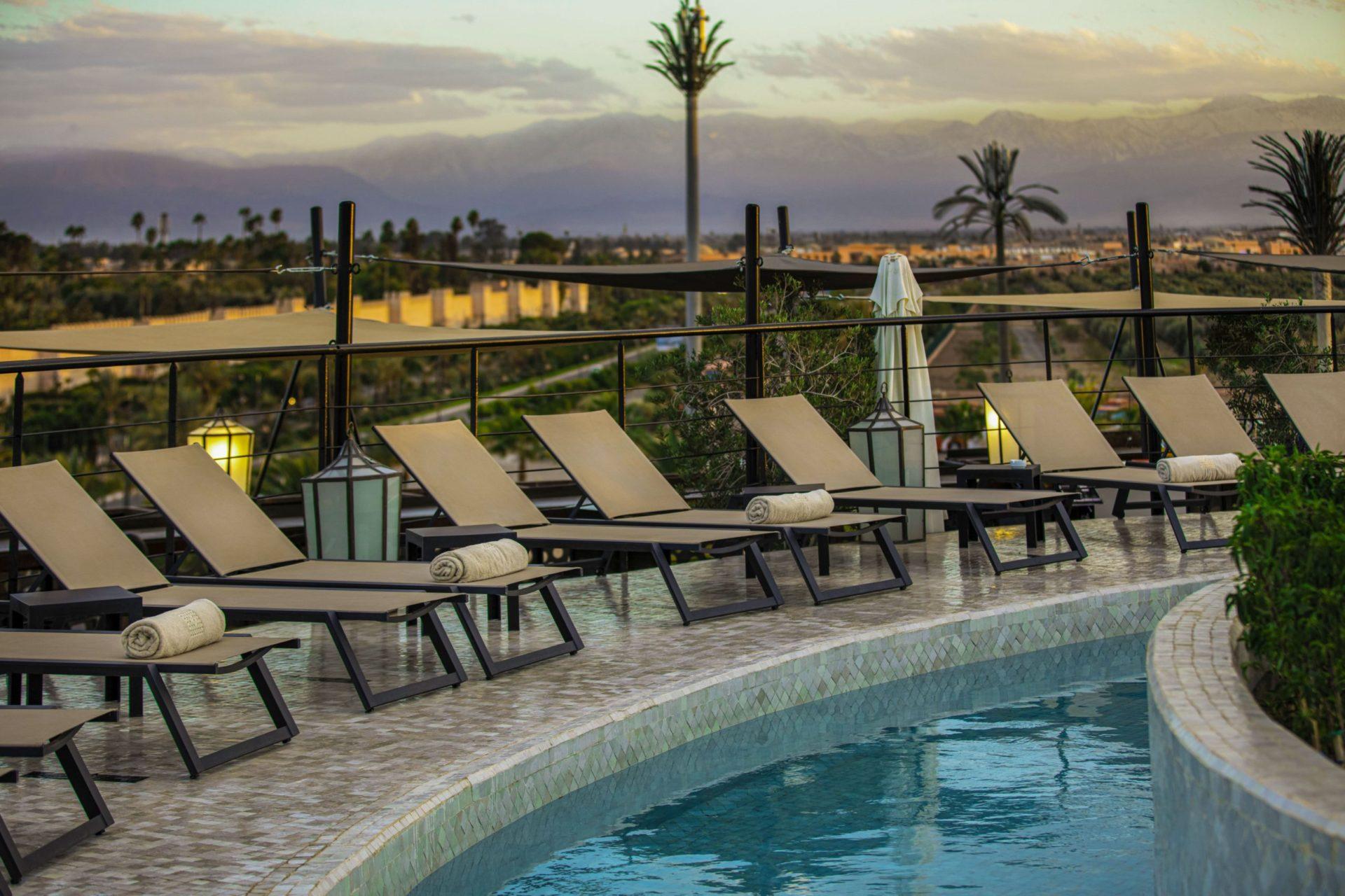 piscine Rooftop garden marrakech view montagne atlas
